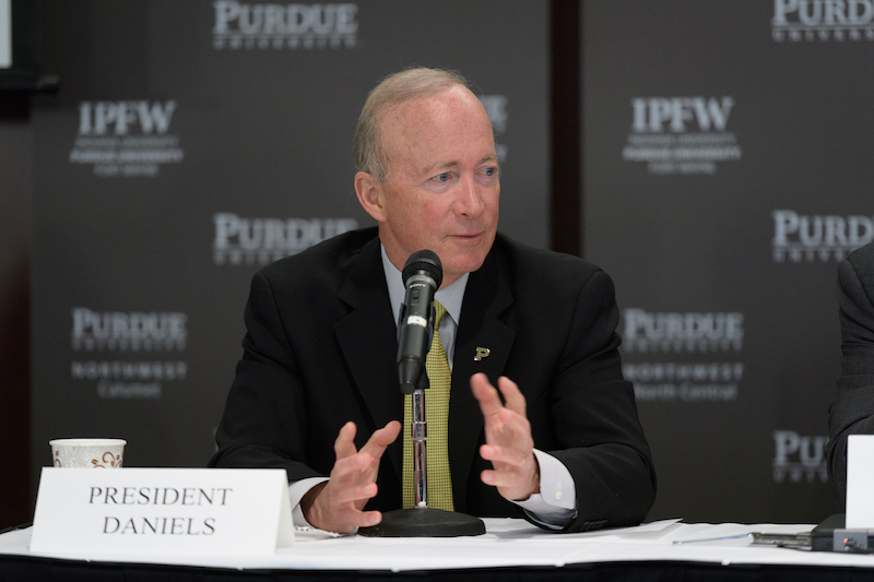 Purdue University President Mitch Daniels announces deal with Kaplan